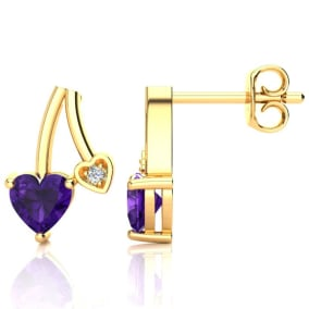 3/4ct Amethyst and Diamond Heart Earrings In 10k Yellow Gold