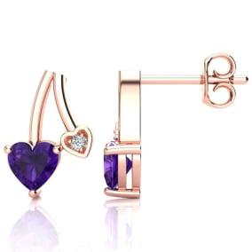 3/4ct Amethyst and Diamond Heart Earrings In 10k Rose Gold