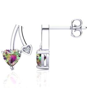 3/4ct Mystic Topaz and Diamond Heart Earrings In 10k White Gold