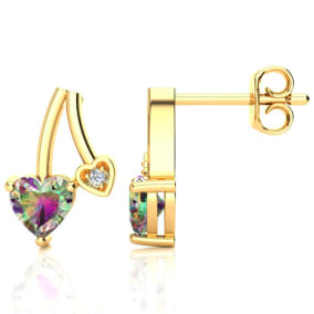 3/4ct Mystic Topaz and Diamond Heart Earrings In 10k Yellow Gold