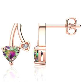 3/4ct Mystic Topaz and Diamond Heart Earrings In 10k Rose Gold