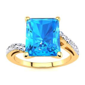 4ct Octagon Blue Topaz and Diamond Ring in 10k Yellow Gold