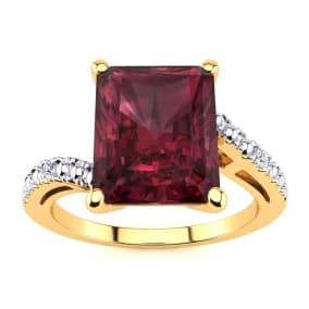 4ct Octagon Garnet and Diamond Ring in 10k Yellow Gold