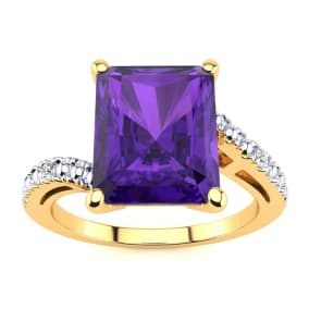 4ct Octagon Amethyst and Diamond Ring in 10k Yellow Gold