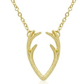 Really Cool Yellow Gold Tone Antler Necklace, 18 Inches