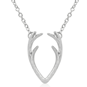 Silver Tone Antler Necklace, 18 Inches