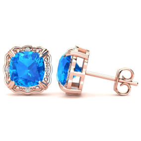 2ct Cushion Cut Blue Topaz and Diamond Earrings in 10k Rose Gold