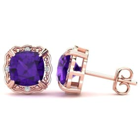 2ct Cushion Cut Amethyst and Diamond Earrings in 10k Rose Gold