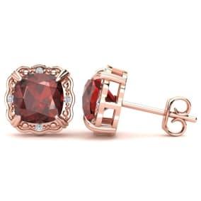 2ct Cushion Cut Garnet and Diamond Earrings in 10k Rose Gold