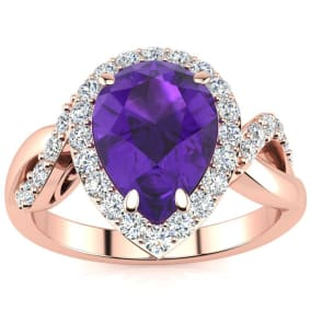 2 1/2ct Pear Shape Amethyst and Diamond Ring in 14K Rose Gold