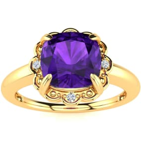 2ct Cushion Cut Amethyst and Diamond Ring in 10k Yellow Gold