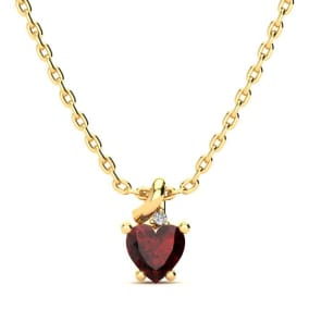 1/2ct Garnet and Diamond Heart Necklace in 10k Yellow Gold
