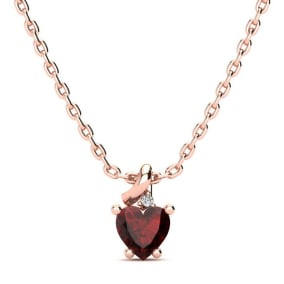 1/2ct Garnet and Diamond Heart Necklace in 10k Rose Gold