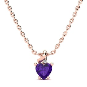 1/2ct Amethyst and Diamond Heart Necklace in 10k Rose Gold