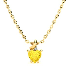 1/2ct Citrine and Diamond Heart Necklace in 10k Yellow Gold