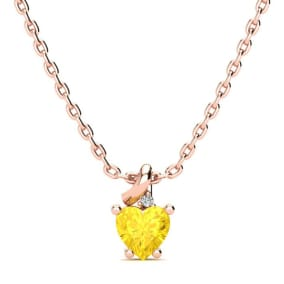 1/2ct Citrine and Diamond Heart Necklace in 10k Rose Gold