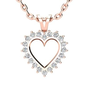 1/4 Carat Classic Diamond Heart Pendant in Rose Gold