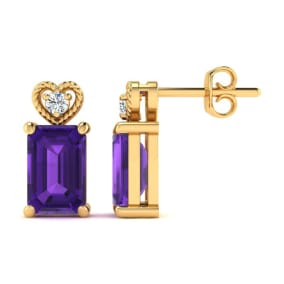 1ct Octagon Shape Amethyst and Diamond Earrings in 10k Yellow Gold
