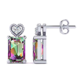 1ct Octagon Shape Mystic Topaz and Diamond Earrings in 10k White Gold