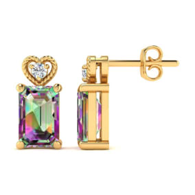 1ct Octagon Shape Mystic Topaz and Diamond Earrings in 10k Yellow Gold