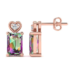 1ct Octagon Shape Mystic Topaz and Diamond Earrings in 10k Rose Gold