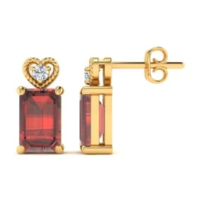 1ct Octagon Shape Garnet and Diamond Earrings in 10k Yellow Gold