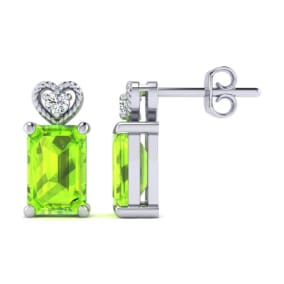 1ct Octagon Shape Peridot and Diamond Earrings in 10k White Gold