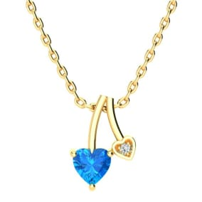 1/2ct Heart Shaped Blue Topaz and Diamond Necklace in 10k Yellow Gold