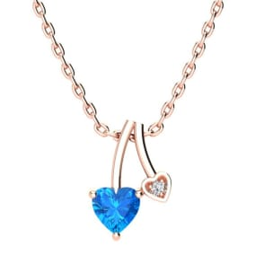 1/2ct Heart Shaped Blue Topaz and Diamond Necklace in 10k Rose Gold