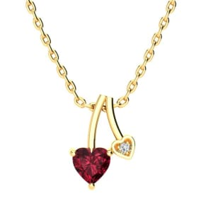1/2ct Heart Shaped Garnet and Diamond Necklace in 10k Yellow Gold