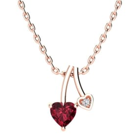 1/2ct Heart Shaped Garnet and Diamond Necklace in 10k Rose Gold