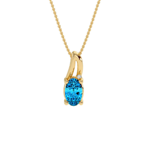 1/2ct Oval Shape Blue Topaz and Diamond Necklace in 10k Yellow Gold