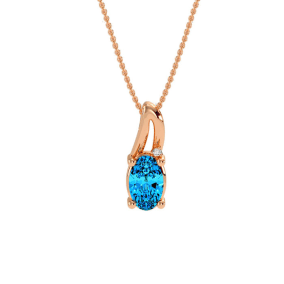 1/2ct Oval Shape Blue Topaz and Diamond Necklace in 10k Rose Gold