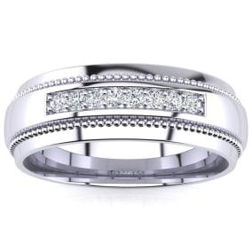 7mm Diamond Mens Satin Finished Milgrain Wedding Band in White Gold