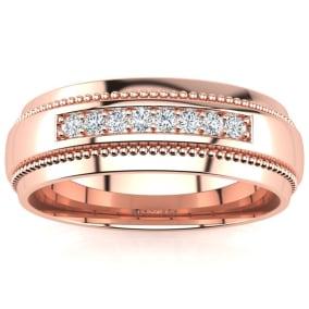 7mm Diamond Mens Satin Finished Milgrain Wedding Band in Rose Gold