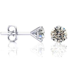 1 1/2 Carat Diamond Stud Earrings in 14 Karat White Gold Martini Setting
