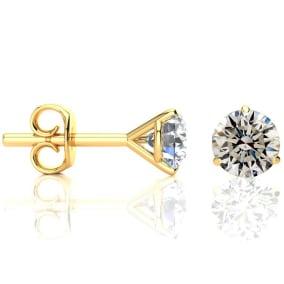 1 1/2 Carat Diamond Stud Earrings in 14 Karat Yellow Gold Martini Setting
