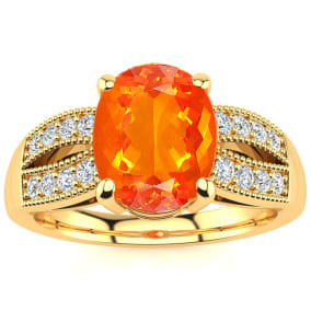 1 1/3 Carat Fire Opal and Diamond Ring In 14 Karat Yellow Gold