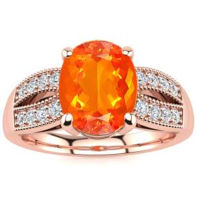 1 1/3 Carat Fire Opal and Diamond Ring In 14 Karat Rose Gold
