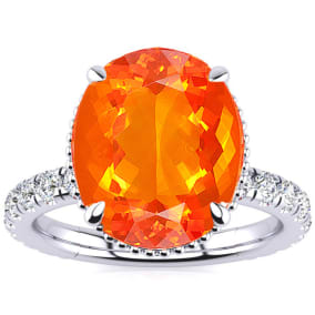 3 3/4 Carat Fire Opal and Diamond Ring In 14K White Gold