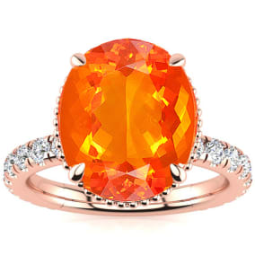 3 3/4 Carat Fire Opal and Diamond Ring In 14K Rose Gold
