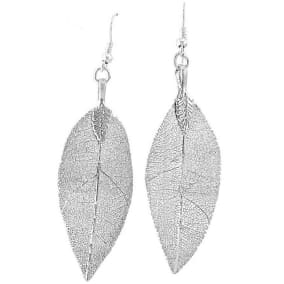 Natural Leaf Earrings, Coated in Sterling Silver Overlay