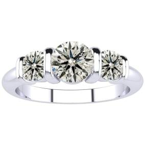 0.90 Carat Bar Set Three Stone Diamond Ring In 14K White Gold