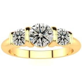 0.90 Carat Bar Set Three Stone Diamond Ring In 14K Yellow Gold