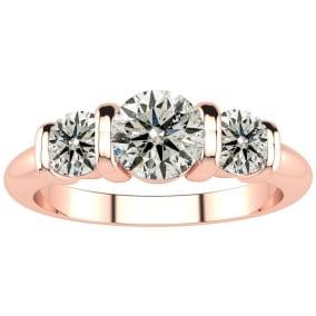 0.90 Carat Bar Set Three Stone Diamond Ring In 14K Rose Gold