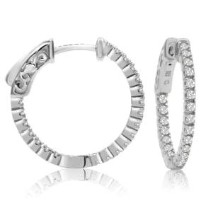 1/2 Carat Crystal Hoop Earrings In Sterling Silver, 3/4 Inch