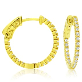 1/2 Carat Crystal Hoop Earrings In 14K Yellow Gold Over Sterling Silver, 3/4 Inch