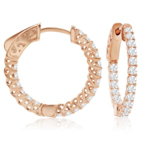 1/2 Carat Crystal Hoop Earrings In 14K Rose Gold Over Sterling Silver, 3/4 Inch