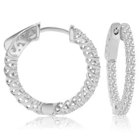 3/4 Carat Crystal Hoop Earrings In Sterling Silver, 3/4 Inch