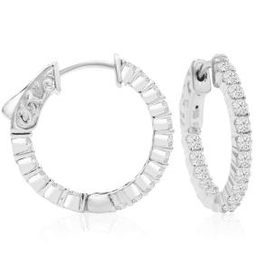 1 Carat Crystal Hoop Earrings In Sterling Silver, 3/4 Inch